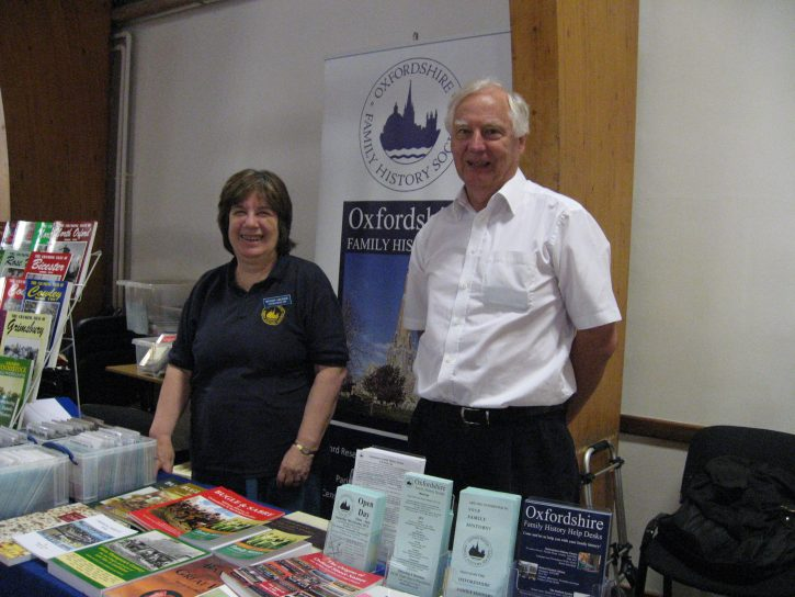 Wendy Archer (left) on the Oxfordshire FHS stall at Oxfordshire Past (2013)