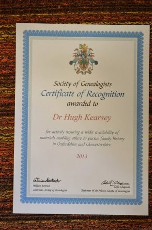 Certtificate of Recognition to Hugh Kearsey for services to Oxfordshire and Gloucestershire