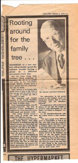 A newspaper cutting titled