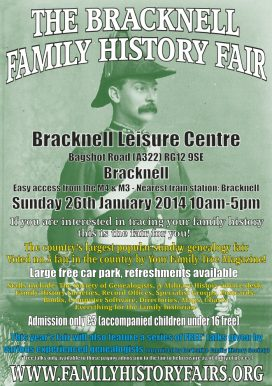 Bracknell Family History Fair - Sunday 26 January 2014