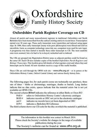 Oxfordshire Parish Records Date Finder