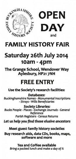 Bucks FHS Open Day on 26 July 2014