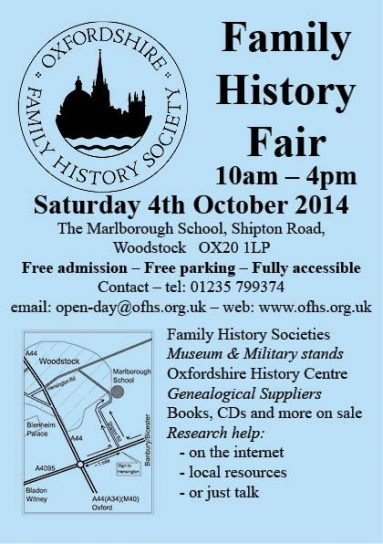 OFHS Family History Fair, 4 October 2014 at Woodstock - all very welcome!