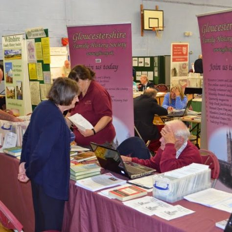 Gloucestershire FHS stand, with Hugh Kearsey and Tracy Barnett
