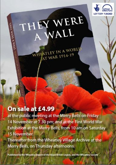 Wheatley at War book launch - Friday  14 November at 7.30pm
