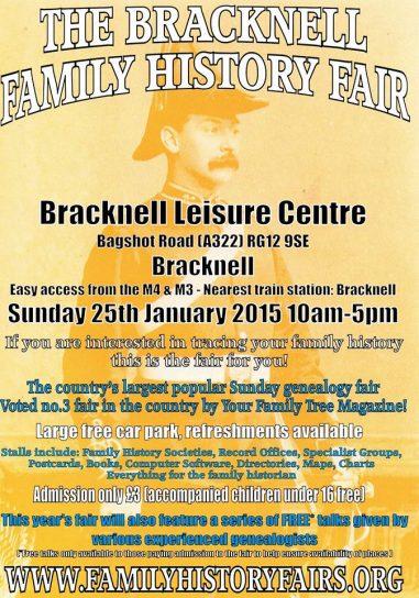 Bracknell Family History Fair - 25 January 2015, at Bracknell Leisure Centre