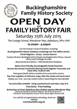 Bucks FHS Open Day and Family History Fair - 25 July 2015