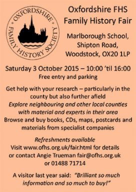 Oxfordshire FHS Family History Fair 2015 - Saturday 3 October at Woodstock