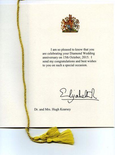 Many congratulations to Hugh and Jean Kearsey !