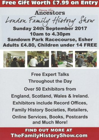 The London Family History Show - Sunday 24 September 2017