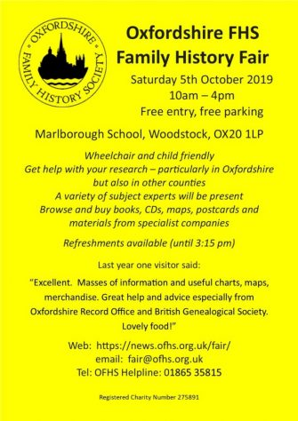 OFHS Fair 5 October 2019 10.00-16.00 hours Marlborough School, Woodstock