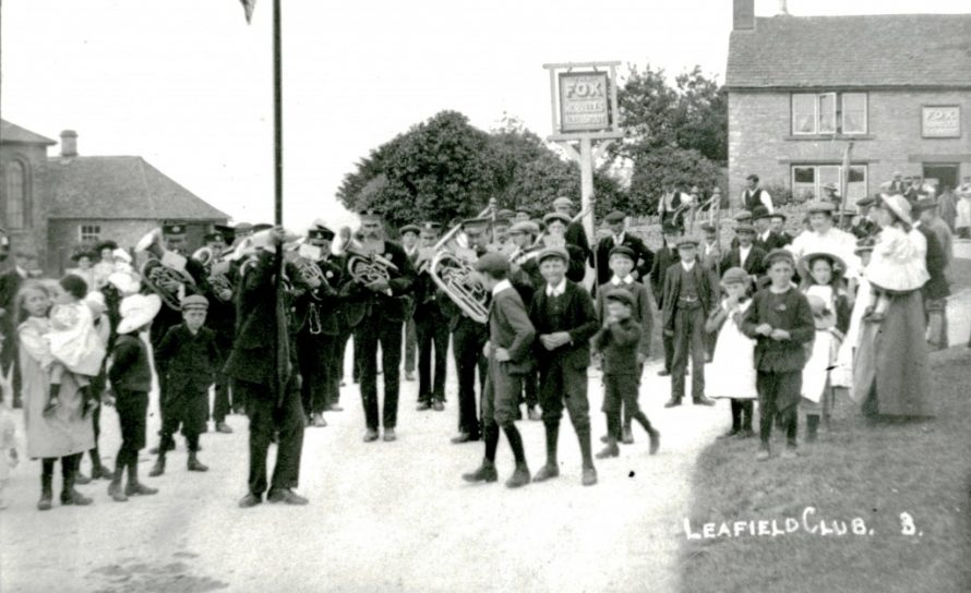 Villagers gathering for Leafield Club Day on the green in early 20th century