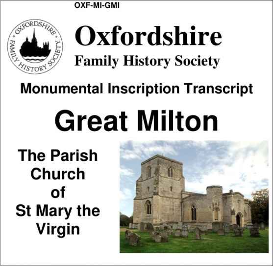 Cover of Great Milton monumental inscription CD