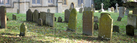 Rows of graves in Eynsham churchyard