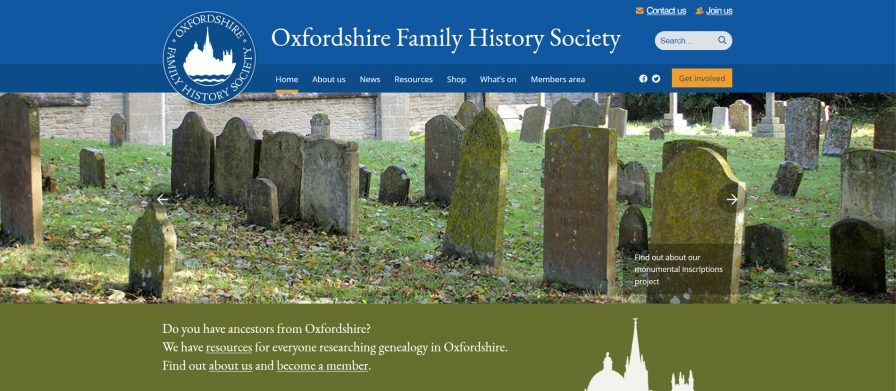 One of the home page banner options showing graveyard at Eynsham | Sue Honore