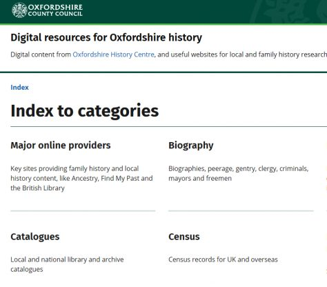 Digital Resources for Oxfordshire History
