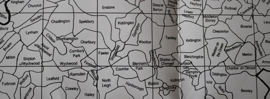Section of the Colin Harris Parish map from Bruern across to Ambrosden