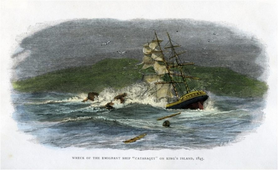 Coloured engraving depicting the wreck of the emigrant ship