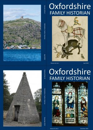 Front and back covers of the April 2020 and December 2019 OFHS journals shoeing page of Tudor Pattern Book on front and St John's Newfoundland on back of April 2020 and Chaddleworth church window and Wheatley lockup in December 2019 | Sue Honoré