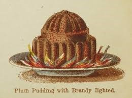 Plum Pudding with Brandy Lighted